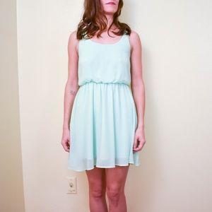 LUSH Mint Green Blouson Style Chiffon Mini Dress